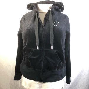 Disney parks Sz XL black velour zip up hoodie